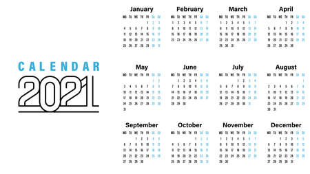 2021 Calendar template vector illustration simple design week starts on Sunday indicate weekends with blue