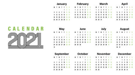 2021 Calendar template vector illustration simple design week starts on Sunday indicate weekends with green