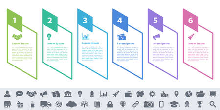 Infographic design business concept vector illustration with 6 steps or options or processes represent work flow or diagram or web button banner