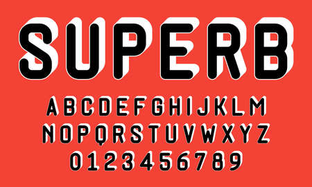 Set of alphabets font letters and numbers modern with 3d concept vector illustration
