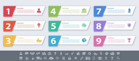 Infographic design business concept vector illustration with 9 steps or options or processes represent work flow or diagram or web button banner