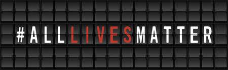 All Lives Matter Protest Banner. Airport split-flap display board design concept vector illustration Ilustrace