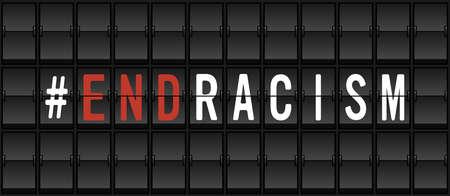 End Racism Protest Banner. Airport split-flap display board design concept vector illustration Ilustrace