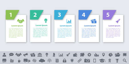 Infographic design business concept vector illustration with 5 steps or options or processes represent work flow or diagram or web button banner Ilustrace