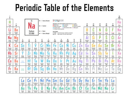 Colorful Periodic Table of the Elements - shows atomic number, symbol, name, atomic weight, state of matter and element category Ilustración de vector