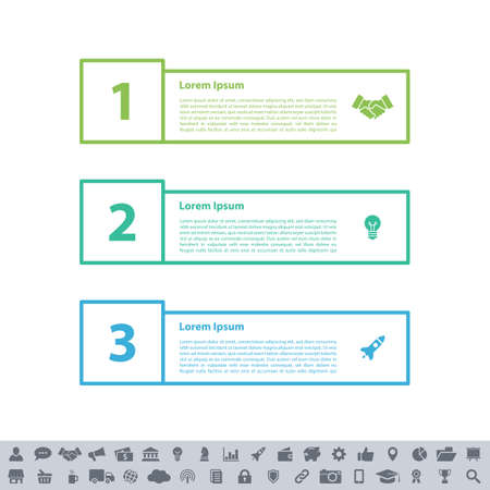 Infographic design business concept vector illustration with 3 steps or options or processes represent work flow or diagram or web button banner Ilustrace