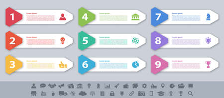 Infographic design business concept vector illustration with 9 steps or options or processes represent work flow or diagram or web button banner Vektoros illusztráció