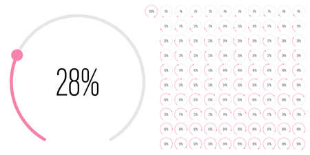 Set of circular sector percentage diagrams meters from 0 to 100 ready-to-use for web design, user interface UI or infographic - indicator with pink
