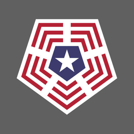 United States of America USA flag shield icon logo vector illustration. Independence Day. 4th of July. Presidential Election Vettoriali