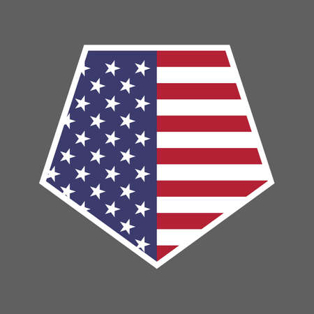 United States of America USA flag shield icon  vector illustration. Independence Day. 4th of July. Presidential Election Vettoriali