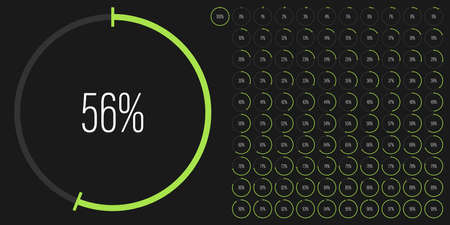 Set of circle percentage diagrams meters from 0 to 100 ready-to-use for web design, user interface UI or infographic - indicator with green
