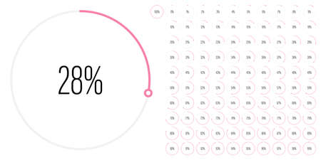 Set of circle percentage diagrams meters from 0 to 100 ready-to-use for web design, user interface UI or infographic - indicator with pink