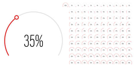 Set of circular sector percentage diagrams meters from 0 to 100 ready-to-use for web design, user interface UI or infographic - indicator with red Vettoriali