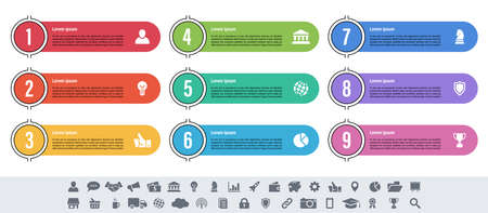 Infographic design business concept vector illustration with 9 steps Vettoriali