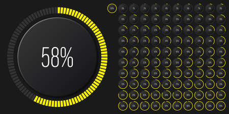 Set of circle percentage diagrams meters from to 100 ready-to-use for web design, user interface UI or infographic with 3D concept - indicator with yellow