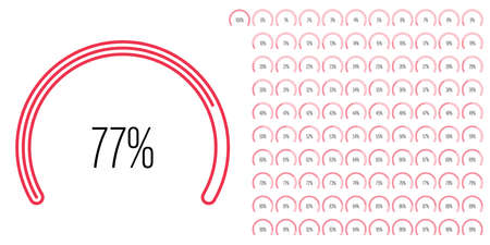 Set of circular sector percentage diagrams meters from 0 to 100 ready-to-use for web design, user interface UI or infographic - indicator with red Stock Illustratie