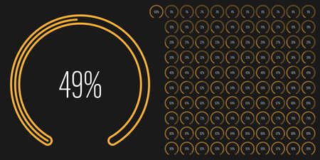 Set of circular sector percentage diagrams meters from 0 to 100 ready-to-use for web design, user interface UI or infographic - indicator with yellow Stock Illustratie
