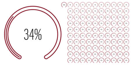Set of circular sector percentage diagrams meters from 0 to 100 ready-to-use for web design, user interface UI or infographic - indicator with maroon dark red