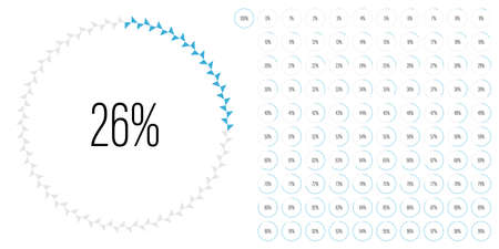 Set of circle percentage diagrams meters from 0 to 100 ready-to-use for web design, user interface UI or infographic - indicator with blue