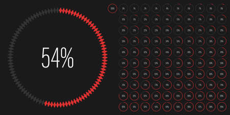 Set of circle percentage diagrams meters from 0 to 100 ready-to-use for web design, user interface UI or infographic with diamond shapes - indicator with red
