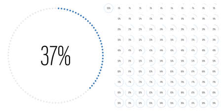 Set of circle percentage diagrams meters from 0 to 100 ready-to-use for web design, user interface UI or infographic with star shapes - indicator with blue
