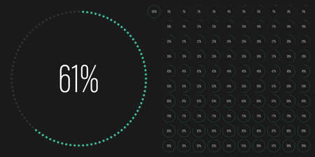 Set of circle percentage diagrams meters from 0 to 100 ready-to-use for web design, user interface UI or infographic with star shapes - indicator with green Stock Illustratie
