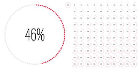 Set of circle percentage diagrams meters from 0 to 100 ready-to-use for web design, user interface UI or infographic with heart shapes - indicator with red