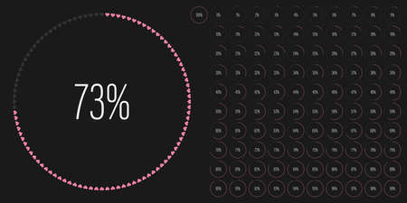 Set of circle percentage diagrams meters from 0 to 100 ready-to-use for web design, user interface UI or infographic with heart shapes - indicator with pink