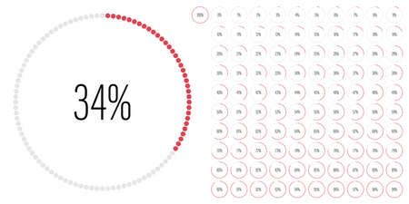 Set of circle percentage diagrams meters from 0 to 100 ready-to-use for web design, user interface UI or infographic - indicator with red