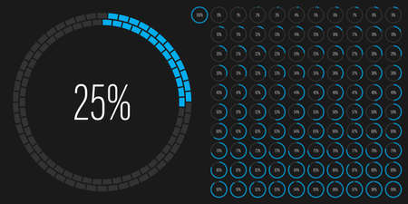 Set of circle percentage diagrams meters from 0 to 100 ready-to-use for web design, user interface UI or infographic with brick concept - indicator with cyan blue