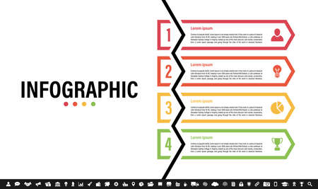 Infographic design template with business concept vector illustration with 4 steps or options or processes represent work flow or diagram Иллюстрация