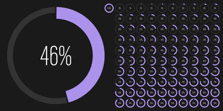 Set of circle percentage diagrams meters from 0 to 100 ready-to-use for web design, user interface UI or infographic - indicator with purple Иллюстрация