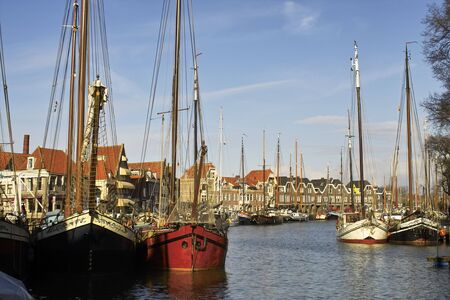 middle ages boat: Tall ships in Alkmaar harbour, Holland Stock Photo