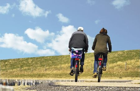 Two cyclists in Zeeland, Holland
