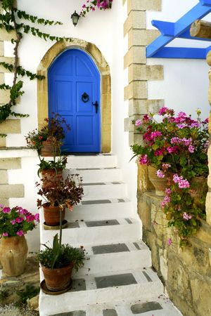 Entrance to a Greek house on Crete, Greece Stock Photo