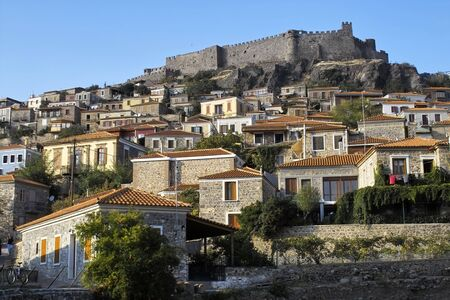 Castle above Molyvos village on Lesbos, Greece Stock Photo