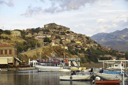 View across the harbour to Molyvos castle on Lesbos, Greece