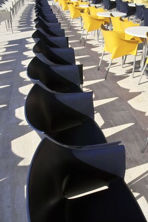 Row of chairs in a holiday resort, Turkey photo