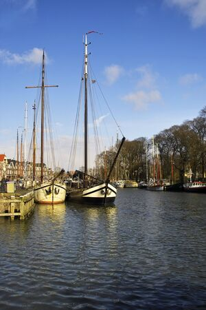 Tall ships docked in Alkmaar harbour, Holland Stock Photo