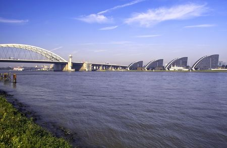 maas: View upriver on the banks of the river Maas in Rotterdam, Holland