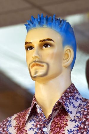 Male mannequin man with spiky blue hair Stock Photo