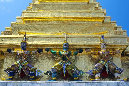 Three guardian devils in the Grand Palace in Bangkok  photo