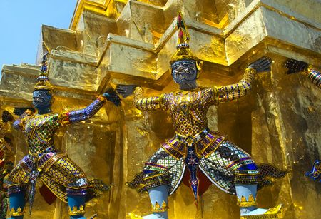 Two guardian devils in the Grand Palace in Bangkok photo