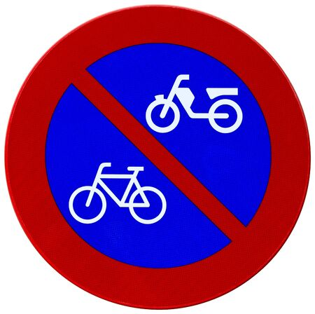 Red and blue reflector sign advising no parking for bicycles and motorcycles