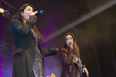 DORDERCHT, NETHERLANDS - JULY 17: Lo�s Lane sing an Abba tribute at Big Rivers on Grote Kerksplein July 17, 2011 in Dordrecht. Lo�s Lane is a Dutch girl group who have recorded an album with Prince. Editorial