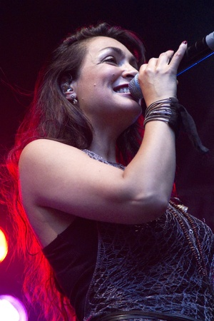 DORDERCHT, NETHERLANDS - JULY 17: Monique Klemann of Lo�s Lane singing at Big Rivers on Grote Kerksplein July 17, 2011 in Dordrecht. Lo�s Lane is a Dutch girl group who have recorded an album with Prince.