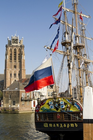 DORDRECHT, NETHERLANDS - OCTOBER 3 2011: The Russian replica galleon the Shtandart, docked in Dordrecht on October 3, 2011. The ship is on a tour of European cities.