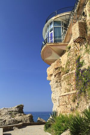 Close-up of Balcon de Europa cliff and landmark in Nerja, Spain Stock Photo