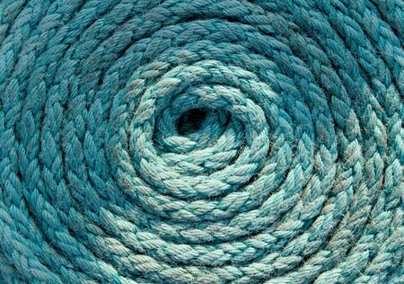 Heavy duty blue coiled ships rope Stock Photo