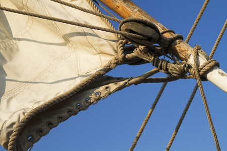 Details of the rigging and sail from an old sailing ship Stock Photo